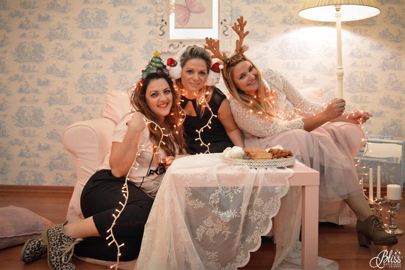 Santorini Bliss Weddings team, Seasons Greetings, fun, leopard shoes, fairylights, Christmas, sweets,candles, lace, pink, blue, decoration, happy new year, Manto Theochari, Helena Tsiouni, Georgia Vasilatou