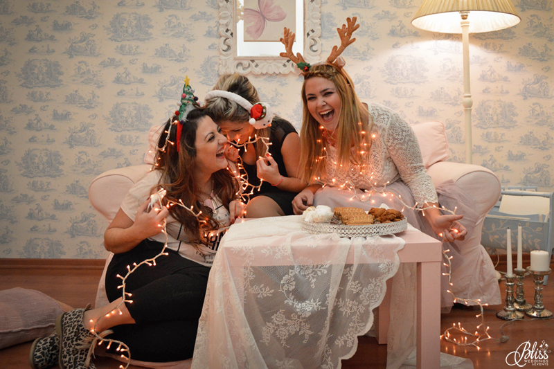 Santorini Bliss Weddings team, Seasons Greetings, fairylights, Christmas, sweets,candles, lace, pink, blue, decoration, happy new year, Manto Theochari, Helena Tsiouni, Georgia Vasilatou, laughter, fun, reindeer, christmas tree, snowman