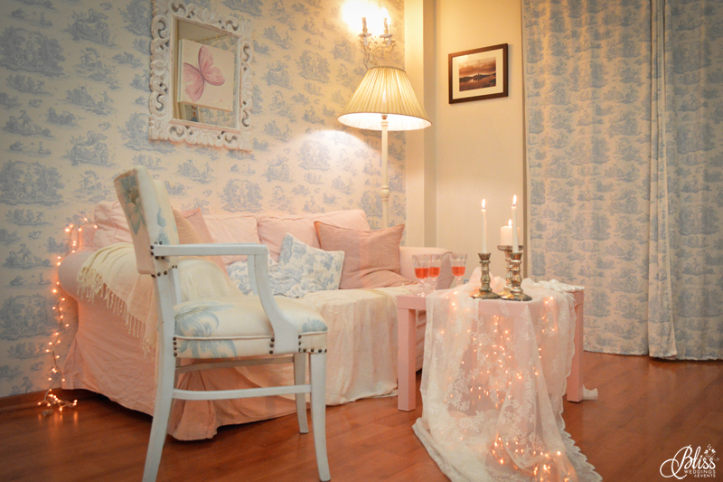 Santorini Bliss Weddings office, Seasons Greetings, fairylights, Christmas, candles, lace, pink, blue, decoration, happy new year